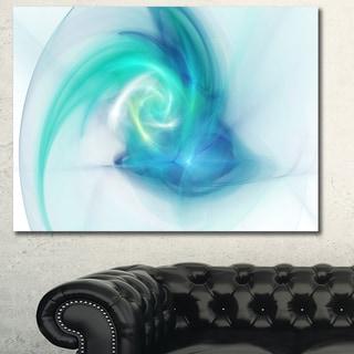 Designart 'Light Blue Fractal Large Texture' Large Canvas Wall Art