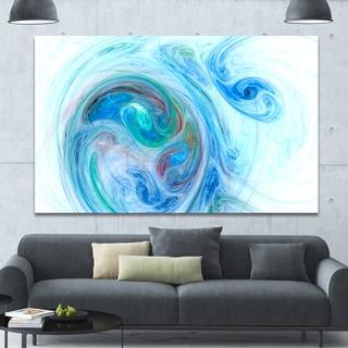 Designart 'Light Blue Fractal Illustration' Large Canvas Wall Art