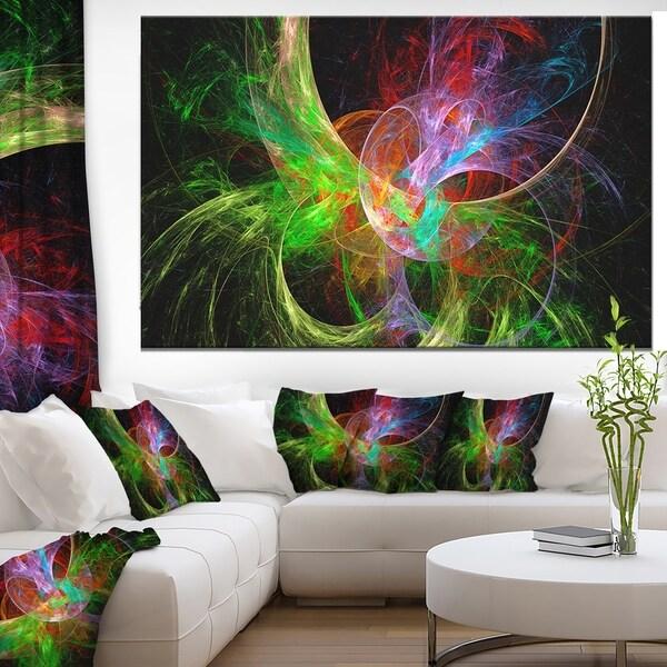 Designart 'Multi-Color Fractal Large Design' Large Glossy Canvas Art Print