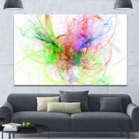 Designart 'Multi-Color on White Fractal Design' Large Glossy Canvas Art Print