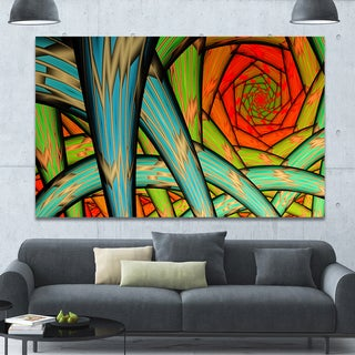 Designart 'Green Fractal Endless Tunnel' Large Glossy Canvas Art Print
