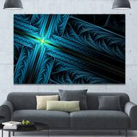 Designart 'Turquoise Fractal Cross Design' Large Glossy Canvas Art Print