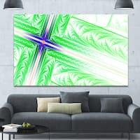 Designart 'Bright Green Fractal Cross Design' Large Glossy Canvas Art Print