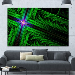 Designart 'Green Fractal Cross Design' Large Glossy Canvas Art Print - Green