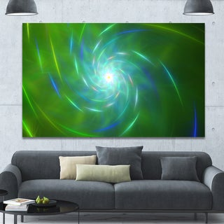 Designart 'Green Fractal Whirlpool Design' Abstract Wall Art Canvas - Green
