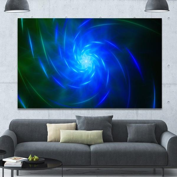 Designart 'Blue Fractal Whirlpool Design' Abstract Wall Art Canvas - Blue