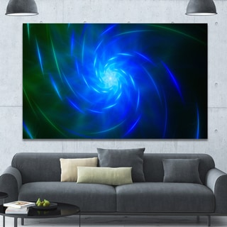 Designart 'Blue Fractal Whirlpool Design' Abstract Wall Art Canvas - Blue
