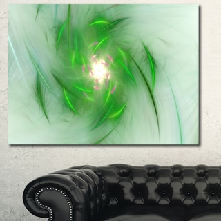 Designart 'Green on White Fractal Whirlpool' Abstract Wall Art Canvas