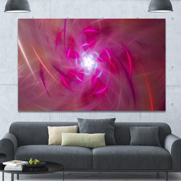 Designart 'Pink Fractal Whirlpool Design' Abstract Wall Art Canvas - Pink