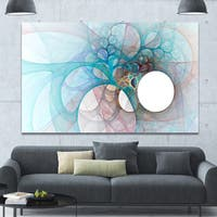 Designart 'Fractal Angel Wings in Light Blue' Abstract Wall Art Canvas