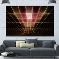 Designart 'Pink on Black Laser Protective Grids' Abstract Wall Art on Canvas