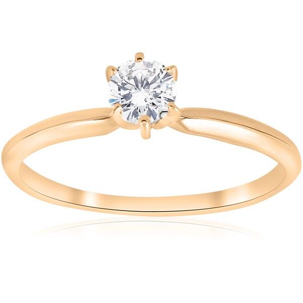 14K Yellow Gold 1/4 ct TDW Solitaire Diamond Engagement Ring (J-K,I2-I3)