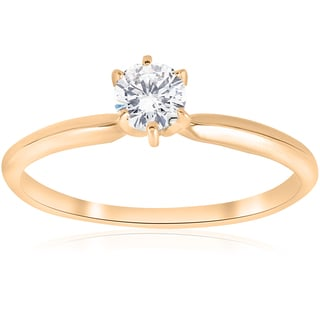 14K Yellow Gold 1/4 ct TDW Solitaire Diamond Engagement Ring (J-K,I2-I3)