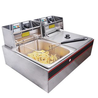 LS-82 5KW 60Hz Home Use Parallel Bars Electric Fryer 110V Silver Grey and Black