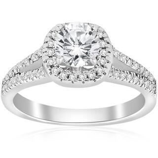 14k White Gold 3/4 ct TDW Cushin Halo Diamond Split Shank Engagement Ring (I-J,I2-I3)