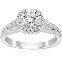 14k White Gold 3/4 ct TDW Cushin Halo Diamond Split Shank Engagement Ring