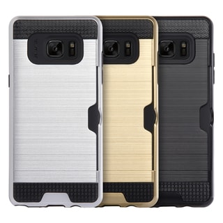 Samsung Galaxy Note 7 Black TPU Hybrid Card To Go Case with Silk Back Plate