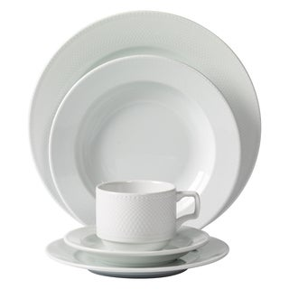 Mitterteich Porcelain Andrea White Debossed Porcelain 20-piece Dinnerware Set