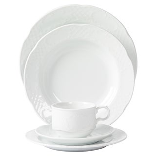 Mitterteich Porcelain Flora Scalloped Embossed White Porcelain Dinnerware (20-piece Set)