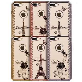 Apple Iphone 7 Plus Fairy Paris Diamond Swirl Gold Electrolplated Chrome Frame TPU Case