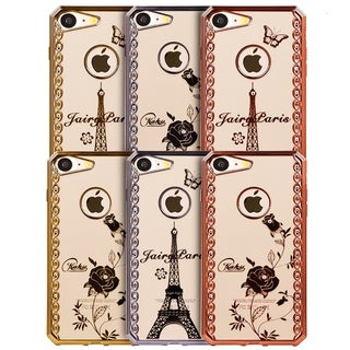 Fairy Paris Diamond Swirl Gold Electrolplated Chrome Frame TPU Apple iPhone 7 Case