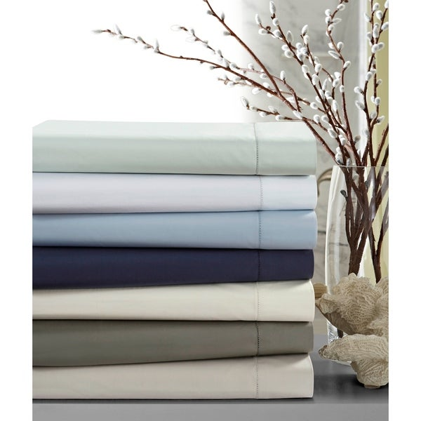 Crisp Percale Cotton Sheet Set With Extra Deep Pockets Luxury Size Flat On Free Shipping Today 14560003