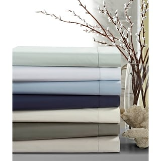 Crisp Percale Cotton Sheet Set with Extra Deep Pockets with Luxury Size Flat