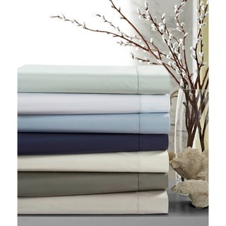 Crisp Percale Cotton Sheet Set with Extra Deep Pockets with Luxury Size Flat (More options available)