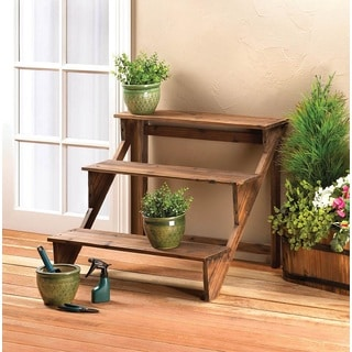 3 tier wooden step plant stand free shipping today 18010025. Black Bedroom Furniture Sets. Home Design Ideas
