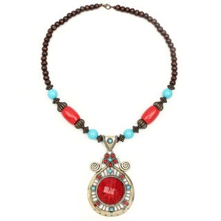 Liliana Bella Oxidized Gold-plated Red/Brown Wood Bead Glass Stone Necklace