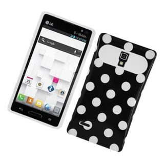 Insten Black/ White Polka Dots Night Glow Hard PC/ Silicone Jelly Case Cover For LG Optimus L9 P769