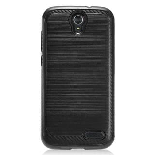 Insten Chrome Hard Plastic Dual Layer Hybrid Brushed Case Cover For ZTE Grand X3/ Warp 7
