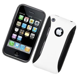 Insten White/ Black Hard Snap-on Dual Layer Hybrid Case Cover For Apple iPhone 3G/ 3GS