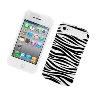 Insten Zebra Night Glow Hard PC/ Silicone Jelly Case Cover For Apple iPhone 4/ 4S
