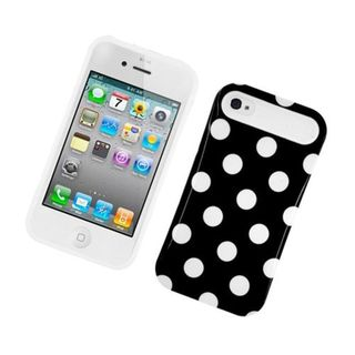Insten Polka Dots Night Glow Hard PC/ Silicone Jelly Case Cover For Apple iPhone 4/ 4S