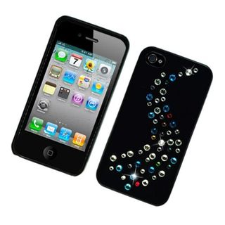 Insten Black Hard Snap-on Case Cover with Diamond For Apple iPhone 4/ 4S