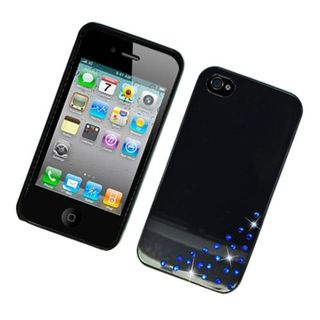 Insten Black Hard Snap-on Cover Case with Diamond For Apple iPhone 4/ 4S