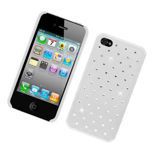 Insten White Hard Snap-on Case Cover with Diamond For Apple iPhone 4/ 4S