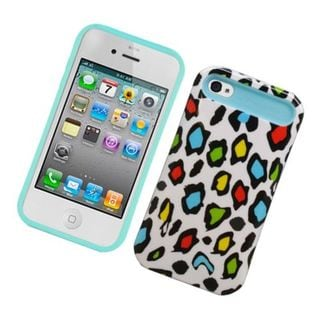 Insten Colorful/ Blue Leopard Night Glow Hard PC/ Silicone Jelly Case Cover For Apple iPhone 4/ 4S