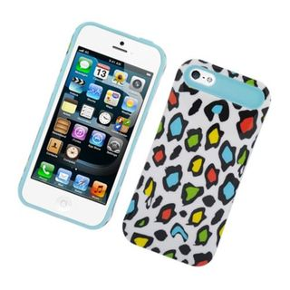 Insten Colorful/ Blue Leopard Night Glow Hard PC/ Silicone Jelly Case Cover For Apple iPhone 5/ 5S