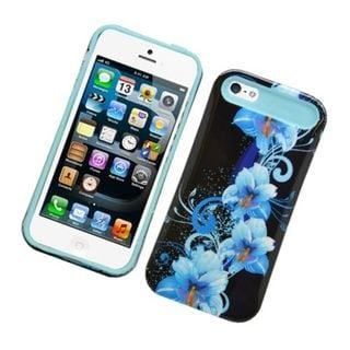 Insten Black/ Blue Flowers Night Glow Hard PC/ Silicone Jelly Case Cover For Apple iPhone 5/ 5S