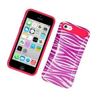 Insten Hot Pink/ White Zebra Night Glow Hard PC/ Silicone Jelly Case Cover For Apple iPhone 5C