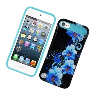 Insten Black/ Blue Flowers Night Glow Hard PC/ Silicone Jelly Case Cover For Apple iPod Touch 5th Gen
