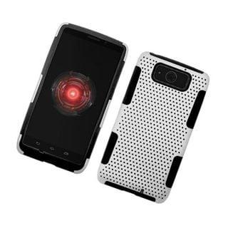 Insten White/ Black Mesh Hard Snap-on Dual Layer Hybrid Case Cover For Motorola Droid Ultra XT1080