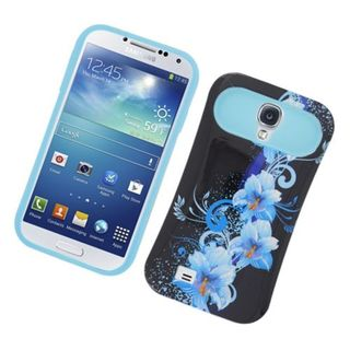 Insten Black/ Blue Flowers Night Glow Hard PC/ Silicone Jelly Case Cover For Samsung Galaxy S4