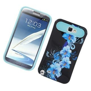 Insten Black/ Blue Flowers Night Glow Hard PC/ Silicone Jelly Case Cover For Samsung Galaxy Note II