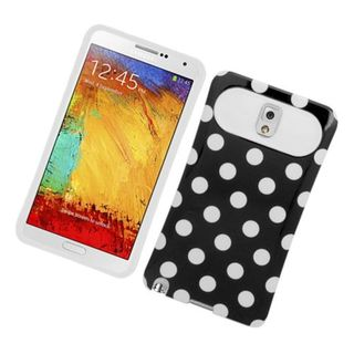 Insten Black/ White Polka Dots Night Glow Hard PC/ Silicone Jelly Case Cover For Samsung Galaxy Note 3