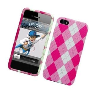Insten Pink/ White Argyle Hard Snap-on Case Cover For Apple iPhone 5/ 5S