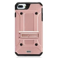 Insten Rose Gold/ Black Hard Snap-on Dual Layer Hybrid Case Cover with Stand For Apple iPhone 7 Plus
