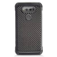 Insten Black Carbon Fiber Hard Snap-on Dual Layer Hybrid Case Cover For LG V20